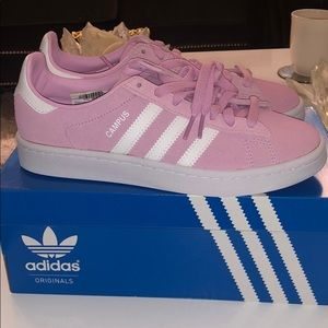 ADIDAS Pink and White Suede Sneakers New in Box